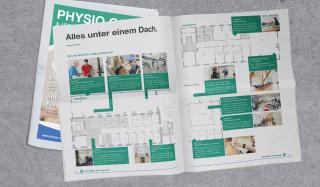 clever concept stellt ein Projekt vor: Projekt Magazin - Physio Care News - Doppelseite